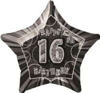"Glitz 20"" Star Balloon Black & Silver - Age 16"